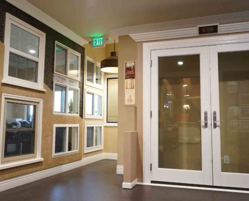 French swing doors and installed windows inside of our orange county window and door showroom