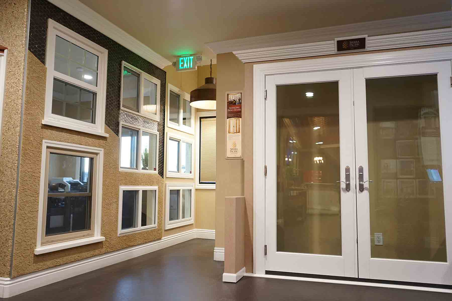 French doors in our main lobby and showroom