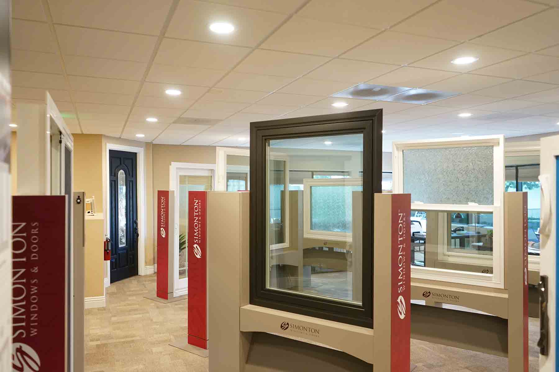 Our simonton windows in our showroom