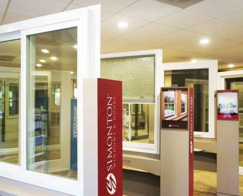 Angle one of our Simonton window products in the showroom